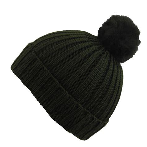 bobble knit hat city knit rabbit fur bobble roll up winter
