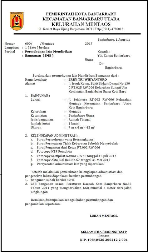 surat rekomendasi imb immb kelurahan mentaos