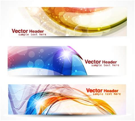 header design psd vector set of abstract banner header graphics 03 over