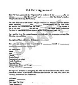 veterinary forms templates pet care agreement create a free pet care agreement form