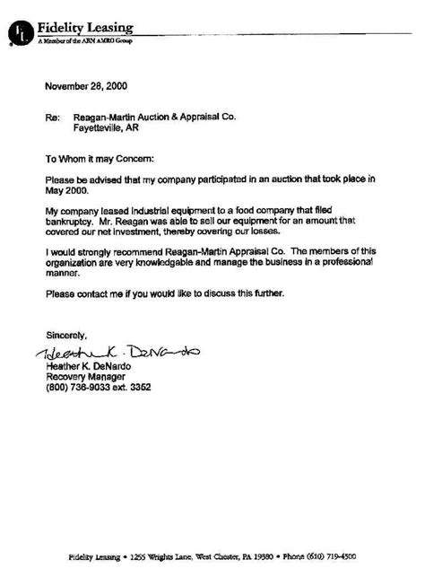 Appraisal Recommendation Letter From Superior Batchmaster S Auction Appraisal Services