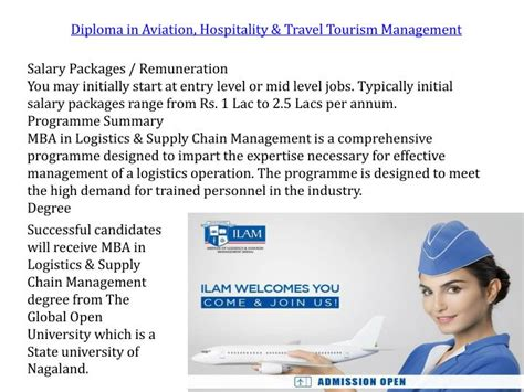 Mba In Airline Management Salary by Ppt Institute Of Logistics Aviation Management