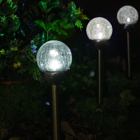 solar pathway lights amazon set of 6 crackle glass globe color changing led white