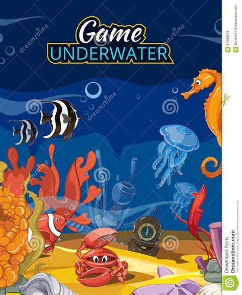 Fish Computer Game Cartoon   underwater world computer game vector screen in stock