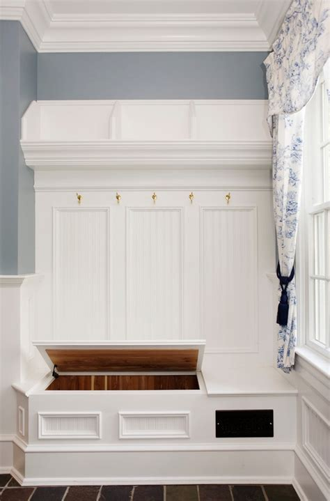 corner mudroom bench  white shelves front door narrow