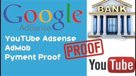 adsense admob adsense admob youtube payment proof on bank account youtube