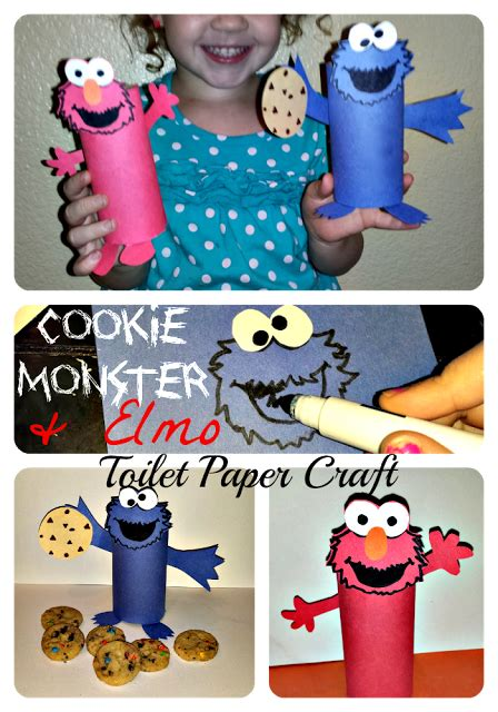 Cheap Elmo & Cookie Monster Toilet Paper Roll Crafts For ... Empty Toilet Paper Roll Png
