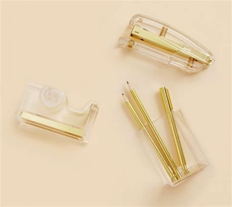 All That Glitters Our Choose Of The Hottest Gold Desk Lucite Desk Accessories