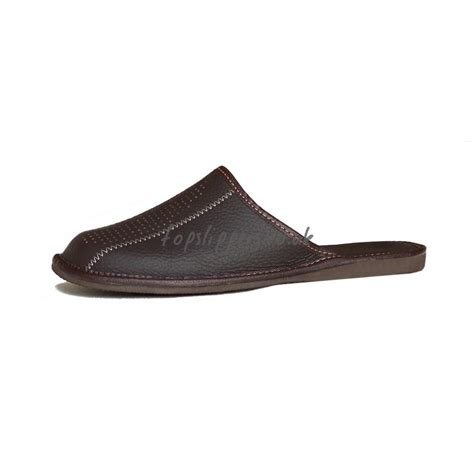 leather house slippers buy chockolate brown leather mule slippers for men model