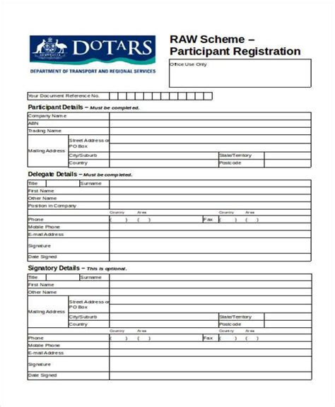 participant registration form template registration forms in word