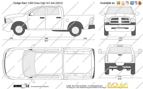 Dodge Ram 1500 Bed Size by The Blueprints Vector Drawing Dodge Ram 1500 Crew