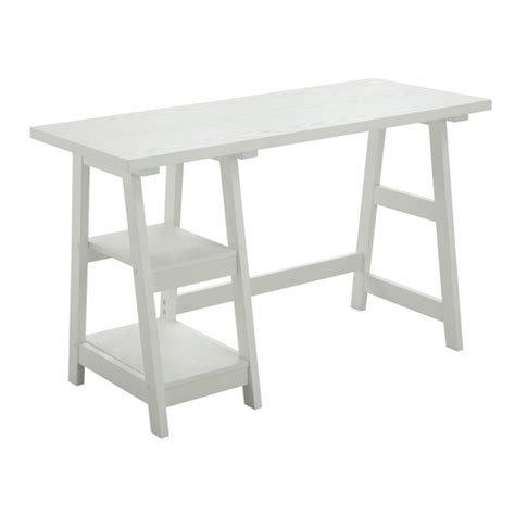 Designs2go White Trestle Desk Convenience Concepts Desks Trestle Desk White