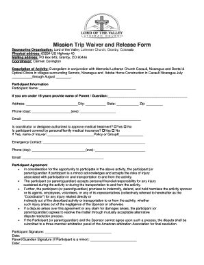 Church Activity Waiver Form Fill Out Print Download Online Forms Templates In Word Pdf Activity Waiver And Release Form Template