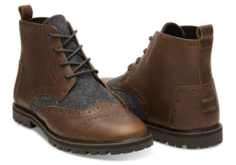 mens brown leather brogue boots it toms brown leather mens brogue boots
