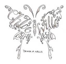 name tattoos made into a butterfly shape by a well
