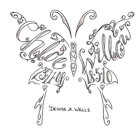 family butterfly tattoo designs name tattoos made into a butterfly shape by a well