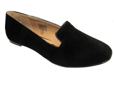 flat black shoe black flat suedette dolly shoes sz uk 3 8