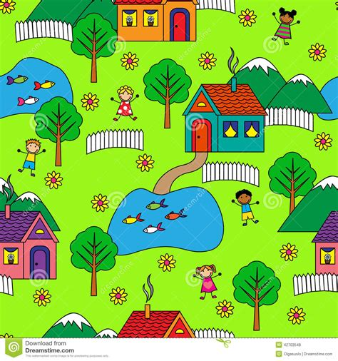 seamless pattern houses seamless pattern with houses trees and people stock