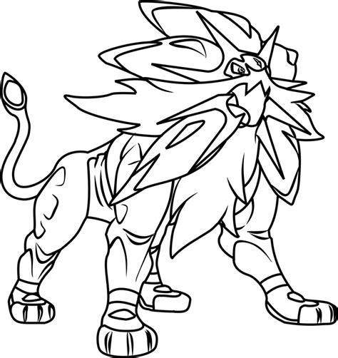 legendary coloring pages solgaleo legendary coloring page free printable