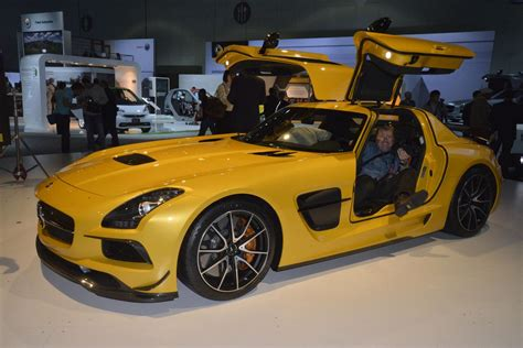 mercedes sls amg black series gullwing doors open