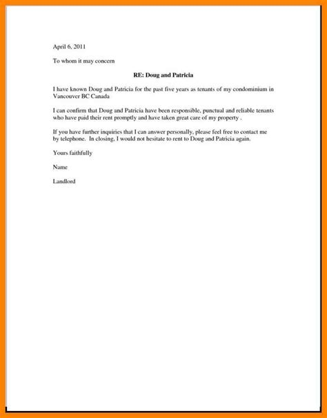 Tenant Letter Of Recommendation Exle cover letter exle rental 28 images rental agreement