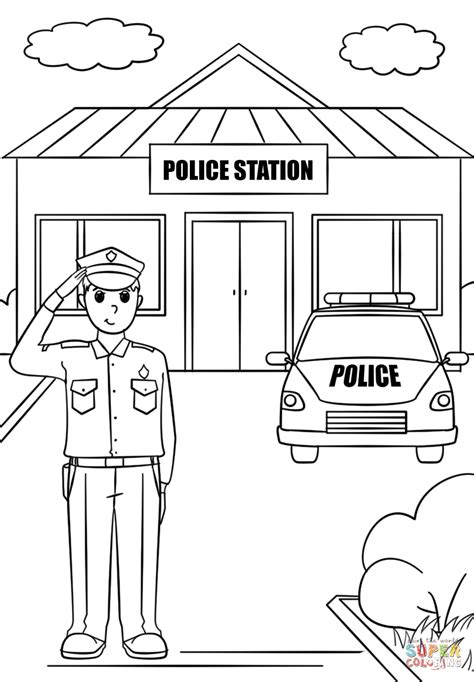 thank you coloring page for police officer police station clipart black and white clipartxtras