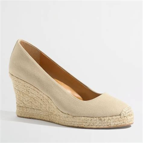 j crew factory canvas espadrille wedges in beige flax lyst