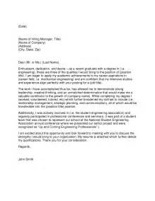 Recent Graduate Cover Letter Sle by Free Sle Resume Cover Letters Sle Cover Letter For