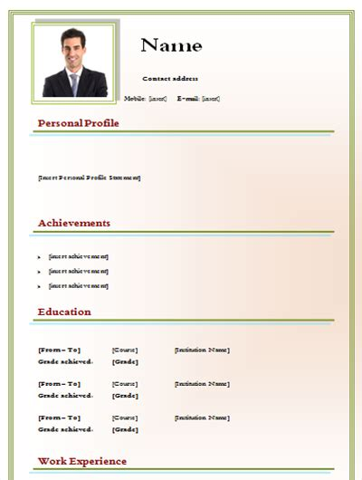 Cv Form Word by Cv Model Doc To Free Form Templates Word Cv