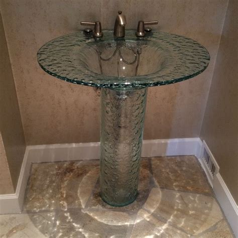 Elliptic textured glass pedestal sink sinks gallery