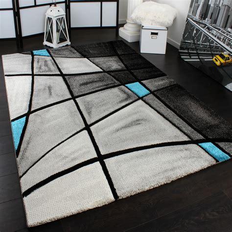gã nstige teppiche designer teppich karo modern konturenschnitt grau t 252 rkis