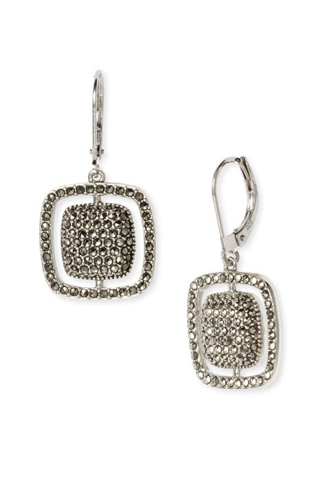 judith sterling silver marcasite cushion drop