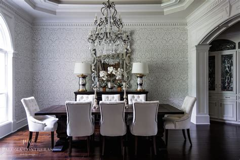 gray damask wallpaper traditional dining room