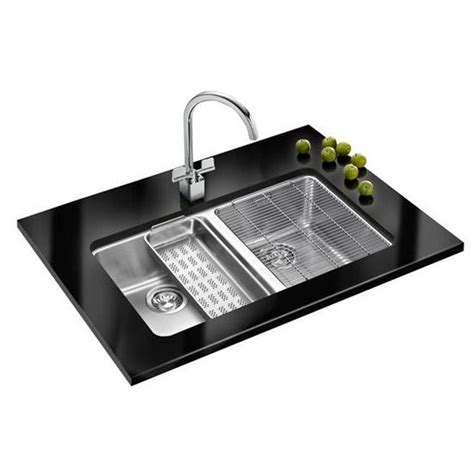 kitchen sink accessories kubus polished stainless kitchen sinks fk kbx12034 kubus double bowl undermount