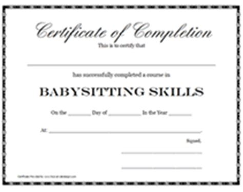 templates for certificates for babysitting babysitting certification certificate printable templates