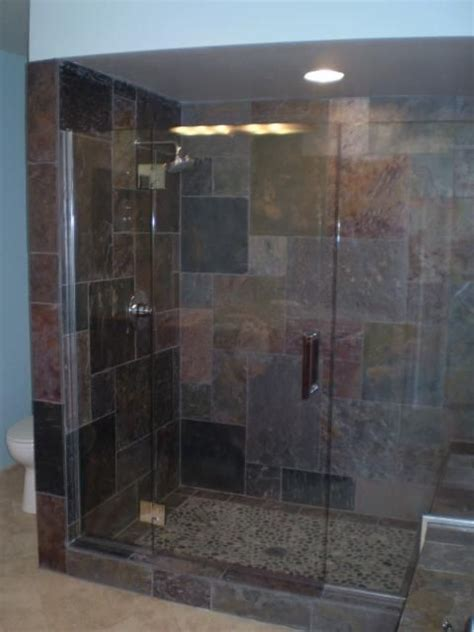 slate shower ideas to go with cheap tile i just found at slate shower rustic house pinterest