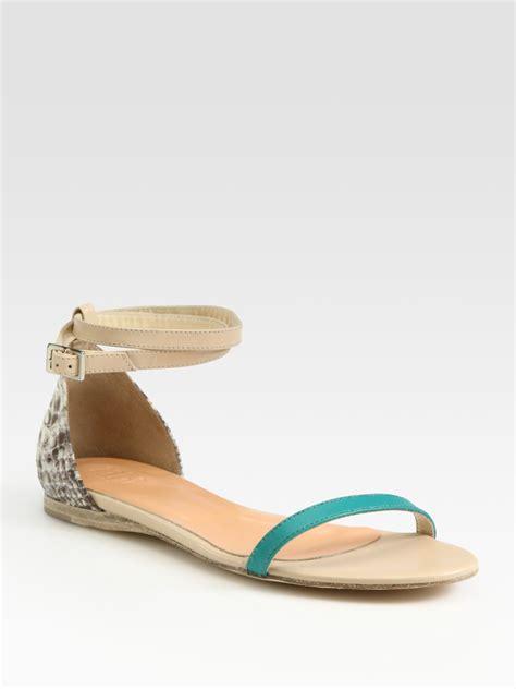 aqua sandals tibi leather pythonprint leather colorblock sandals