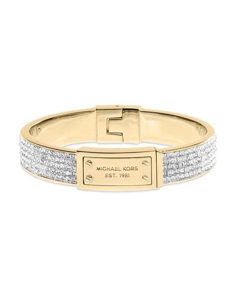 Michael Kors Square Pave Plaque Bangle Bracelet in White (Gold/Clear)   Lyst