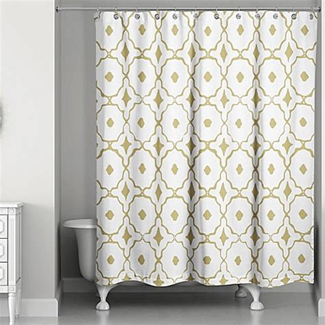 glam shower curtain designs direct glam golden quatrefoil shower curtain bed