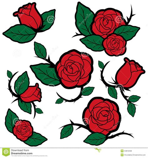 tattoo style roses and buds stock vector image 54812348