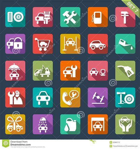 Garage Design Tool auto service icon set flat design stock photos image