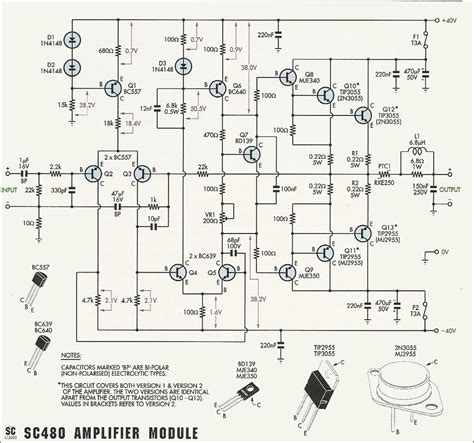 circuit schematic 50w 70w power lifier with 2n3055 mj2955 electronic