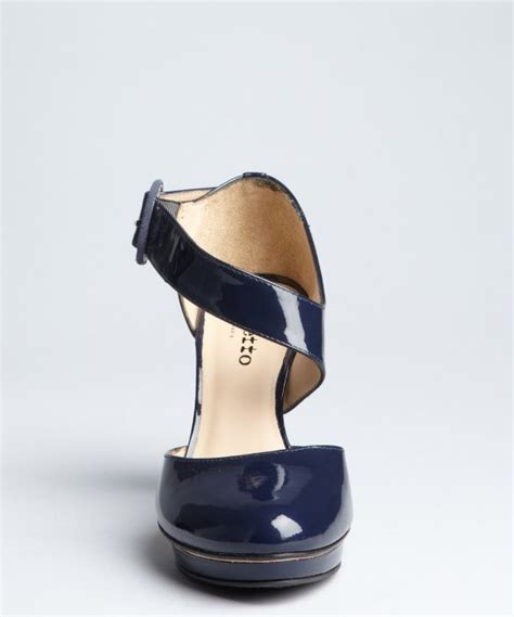 Cammie Hill Patent Leather Cinch Clutch by Repetto Navy Patent Leather Contoured Platform Pumps