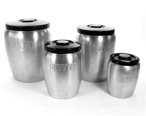 vintage kitchen canisters vintage kitchen canister set aluminum 1940s kitchen decor