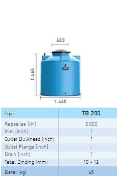 tb 200 kapasitas 2000 liter tangki air penguin