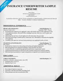 insurance underwriter resume sle resume sles