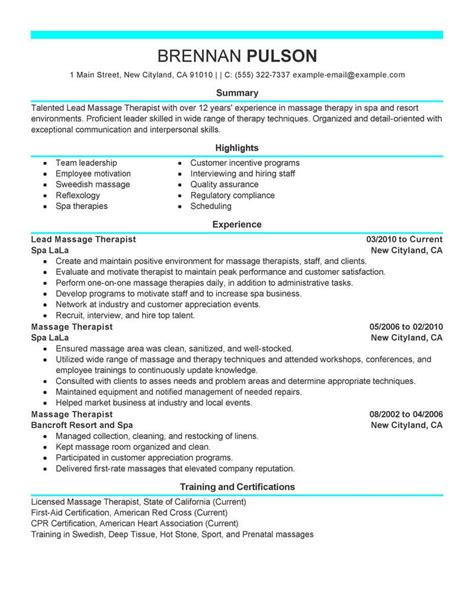 spa therapist cv exle resume therapist resume ideas