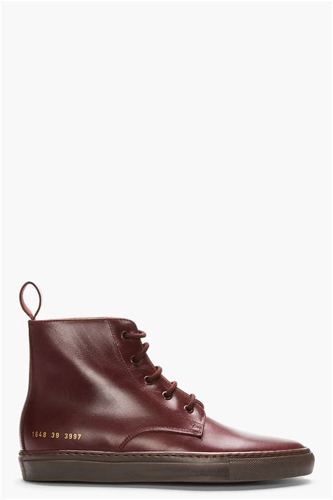 by common projects boots common projects burgundy leather boots in for