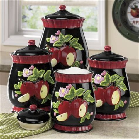 apple kitchen canisters 4 apple canister set kitchenware canister sets canisters and apples