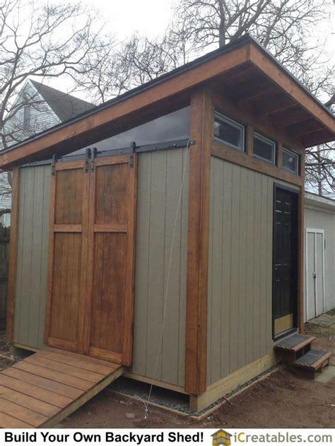 modern backyard shed plan  barn door